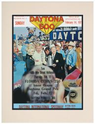 "Matted 10 1/2"" x 14"" 13th Annual 1971 Daytona 500 Program Print"