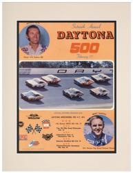 Matted 10 1/2'' x 14'' 16th Annual 1974 Daytona 500 Program Print - Mounted Memories
