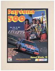 Matted 10 1/2'' x 14'' 29th Annual 1987 Daytona 500 Program Print - Mounted Memories