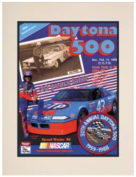 "Matted 10 1/2"" x 14"" 30th Annual 1988 Daytona 500 Program Print"