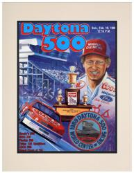 "Matted 10 1/2"" x 14"" 31st Annual 1989 Daytona 500 Program Print"