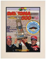"Matted 10 1/2"" x 14"" 35th Annual 1993 Daytona 500 Program Print"