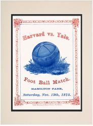 1875 Yale Bulldogs vs Harvard Crimson 10 1/2 x 14 Matted Historic Football Poster