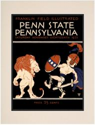 1922 Penn Quakers vs Penn State Nittany Lions 10 1/2 x 14 Matted Historic Football Poster - Mounted Memories