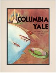 1934 Yale Bulldogs vs Columbia Lions 10 1/2 x 14 Matted Historic Football Poster - Mounted Memories