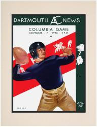 1936 Dartmouth Big Green vs Columbia Lions 10 1/2 x 14 Matted Historic Football Poster - Mounted Memories