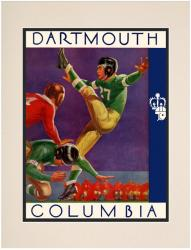1937 Columbia Lions vs Dartmouth Big Green 10 1/2 x 14 Matted Historic Football Poster - Mounted Memories
