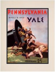 1937 Yale Bulldogs vs Penn Quakers 10 1/2 x 14 Matted Historic Football Poster