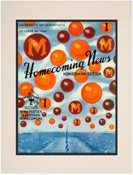 1940 Minnesota Golden Gophers vs Iowa Hawkeyes 10 1/2 x 14 Matted Historic Football Poster - Mounted Memories