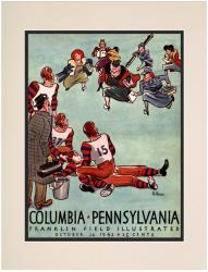 1942 Penn Quakers vs Columbia Lions 10 1/2 x 14 Matted Historic Football Poster - Mounted Memories
