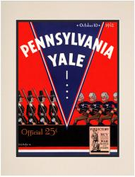 1942 Yale Bulldogs vs Penn Quakers 10 1/2 x 14 Matted Historic Football Poster