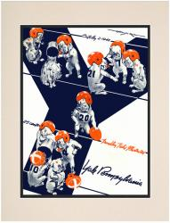 1943 Penn Quakers vs Yale Bulldogs 10 1/2 x 14 Matted Historic Football Poster