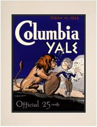 1944 Yale Bulldogs vs Columbia Lions 10 1/2 x 14 Matted Historic Football Poster
