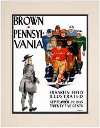 1945 Penn Quakers vs Brown Bears 10 1/2 x 14 Matted Historic Football Poster - Mounted Memories