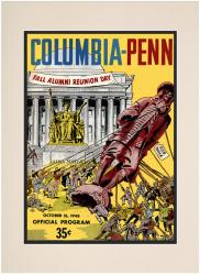 1948 Columbia Lions vs Penn Quakers 10 1/2 x 14 Matted Historic Football Poster - Mounted Memories