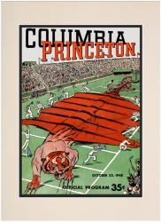 1948 Columbia Lions vs Princeton Tigers 10 1/2 x 14 Matted Historic Football Poster - Mounted Memories