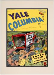 1949 Columbia Lions vs Yale Bulldogs 10 1/2 x 14 Matted Historic Football Poster - Mounted Memories