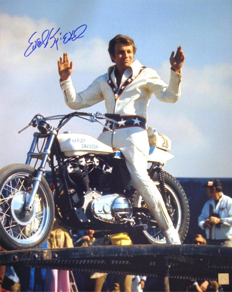 Evel Knievel Signed 16x20 Photo on Harley Davidson