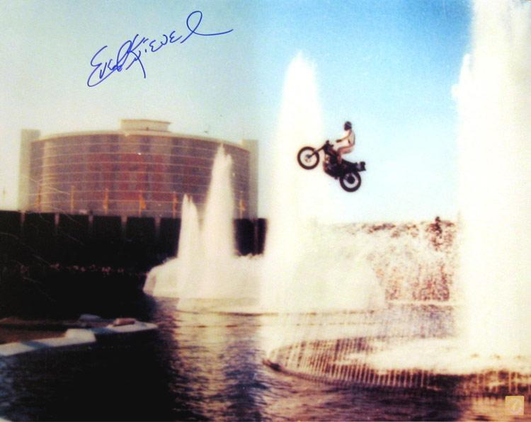 Evel Knievel Signed 16x20 Photo Jumping Caesars Palace