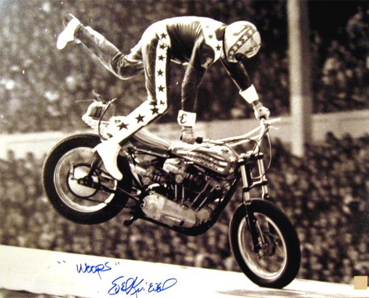 "Evel Knievel Signed 16x20 Photo Wembley Crash ""OOP'S"" Inscription"