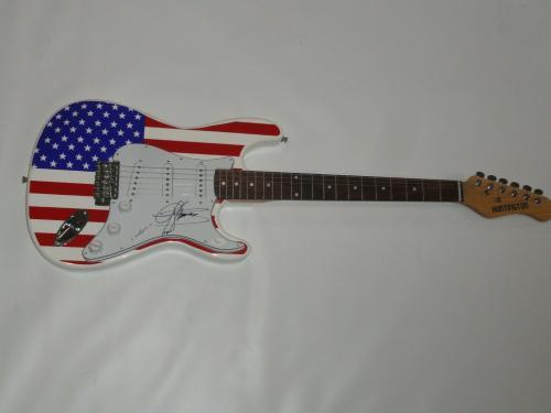 Gene Simmons Signed Usa Flag Electric Guitar Kiss Legend Rare Jsa Loa