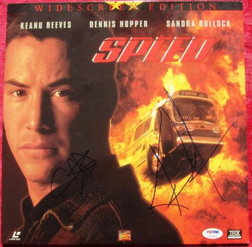 Sandra Bullock Keanu Reeves signed Speed Laser Disc Cover PSA/DNA autograph