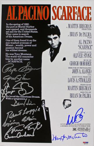 Scarface Cast (11 Signatures) Al Pacino Signed 11x17 Movie Poster PSA/DNA