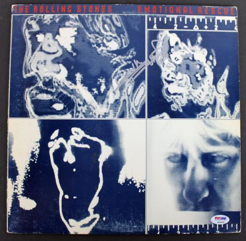 Keith Richards Rolling Stones Signed 'Emotional Rescue' Album Cover PSA #AB04434