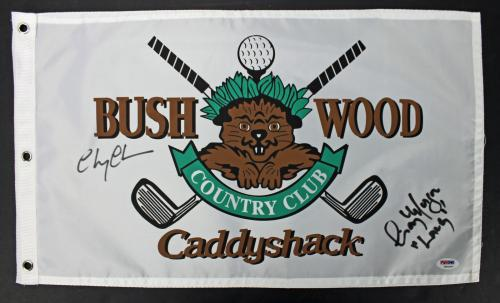 Chevy Chase & Cindy Morgan Signed Caddyshack Flag PSA/DNA #7A92307