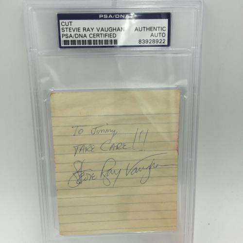 """Rare Stevie Ray Vaughan """" Take Care!"""" Signed Autographed Page PSA DNA COA"""