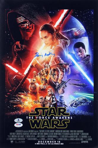 Harrison Ford & Daisy Ridley Star Wars The Force Awakens Signed 12x18 Photo BAS