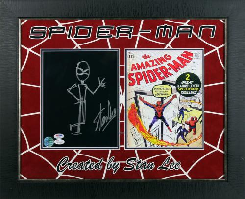 Stan Lee Signed & Framed 8x10 Handdrawn Spiderman Sketch JSA & PSA