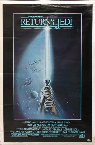(3) Jones, Prowse & Bulloch Signed 27x40 Star Wars Return of the Jedi Poster BAS