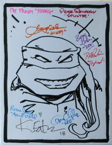 TMNT Cast Autographed 11X14 Stretched Canvas Sketch 8 Autos Beckett K92325