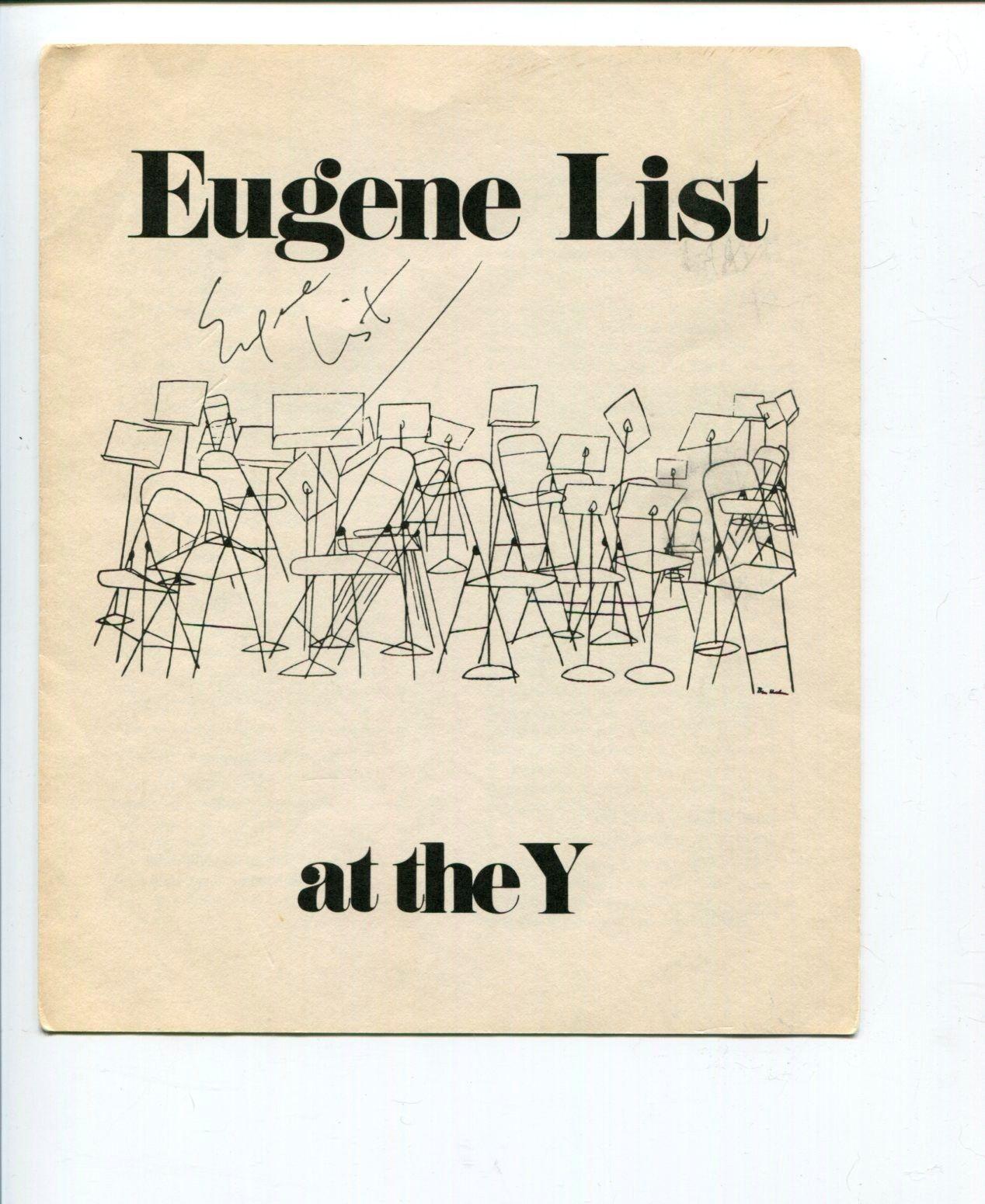 Eugene List Classical Pianist Music Signed Autograph Program