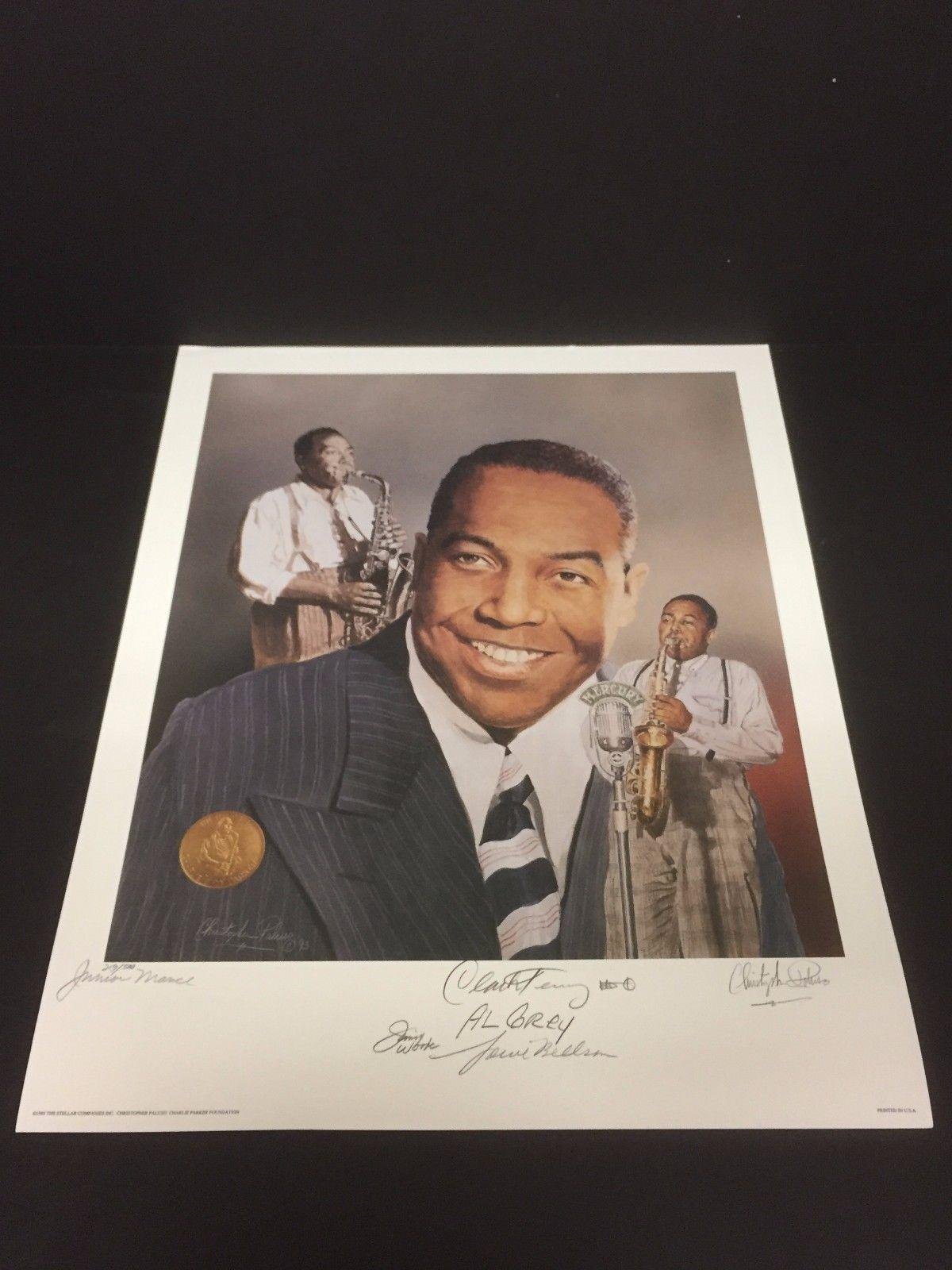Jimmy Woode Louie Bellson Al Grey Junior Mance Clark Terry Jazz Signed Lithograp