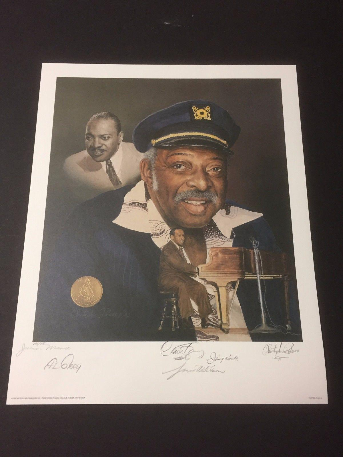 Jimmy Woode Louie Bellson Al Grey Clark Terry Jazz Signed Autograph Litho Photo