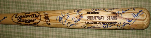 Broadway Stars autographed Baseball Bat by 18 actors Henry Winkler, Robert Urich, Ladd, Duncan, Dench, Noth, Natasha Richardson, etc