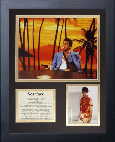 11x14 FRAMED SCARFACE AL PACINO CAST LIST TONY MONTANA GUN SHOT 8X10 PHOTO #1