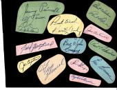 12 Signed Cuts Mounted to Album Page 15 Autographs  Lehner (d.67) Schreiber PSA