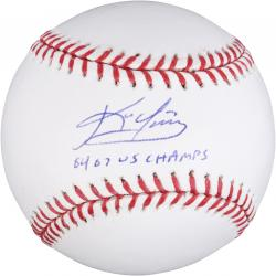 Kevin Youkilis Boston Red Sox Autographed Baseball with 04 07 WS Champs Inscription - Mounted Memories