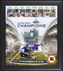 12th Man Seattle Seahawks Super Bowl XLVIII Champions Framed 15x17 Collage with Game-Used Ball
