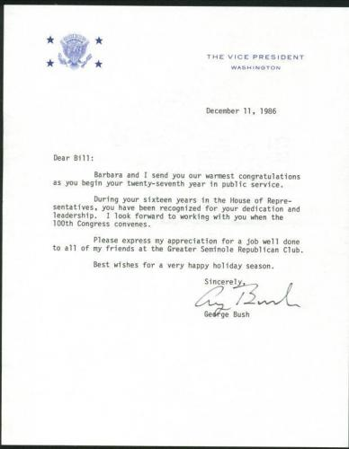 George H.W. Bush Signed 1986 Letter As Vp W/ Darvick COA & PSA #X03385