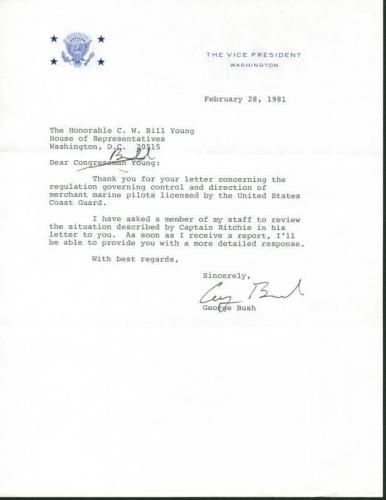 George H.W. Bush Signed 1981 Letter As Vp W/ Darvick COA & PSA #X03389