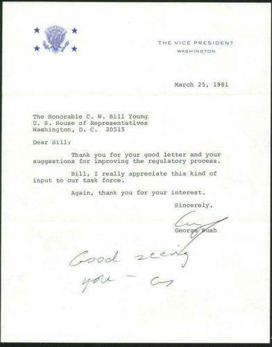 George H.W. Bush Signed 1981 Letter As Vp W/ Darvick COA & PSA #X03388