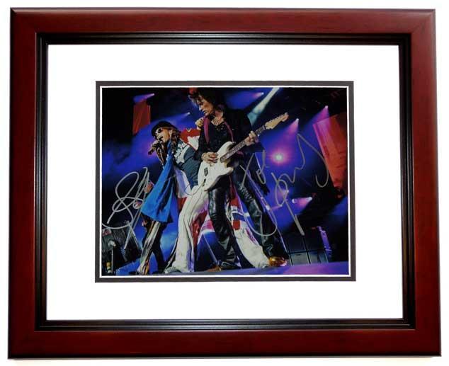 Joe Perry Autographed Photo - Steven Tyler 11x14 Aerosmith MAHOGANY CUSTOM FRAME