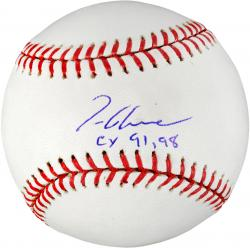 Tom Glavine Autographed Rawlings Baseball with CY '91,'98 Inscription - Mounted Memories