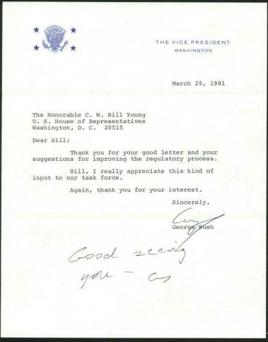 George H.W. Bush Signed 1981 Letter As Vp W/ Darvick COA & PSA #X03388