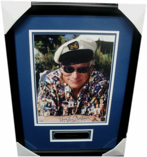 Hugh Hefner Hand Signed Autographed 11x14 Photo In Sailor Hat Shirt  Framed PSA