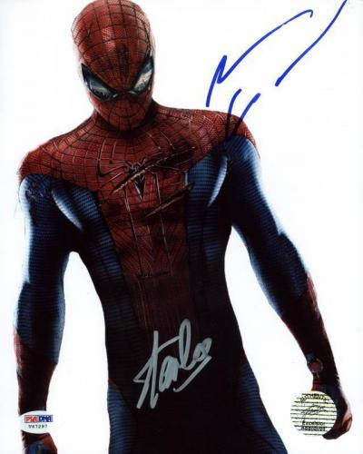 Stan Lee & Andrew Garfield Spider-Man Signed 8X10 Photo PSA #V67297